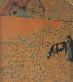 bretonne-et-sa-vache-devant-une-chaumiere-au-pouldu