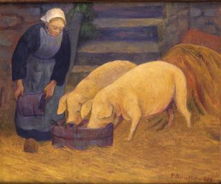 bretonne-donnant-a-manger-aux-cochons